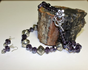Purple and Silver Necklace and earring set.