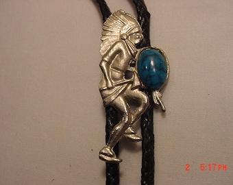 Vintage Native American Indian Dancer Bolo Tie   17 - 41
