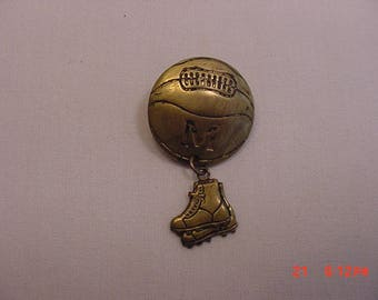 Vintage Basketball & Sneakers Brooch With Intial M On It  17 - 607