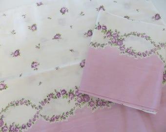 Vintage Border Print Pillowcase-Sweet Dainty Purple Roses-Unused