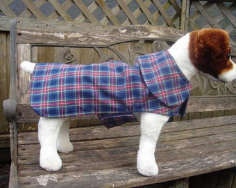 Dog Raincoat- Blue Plaid Dog Coat- Small- 12 to 14 Inch Length- Or Custom Size