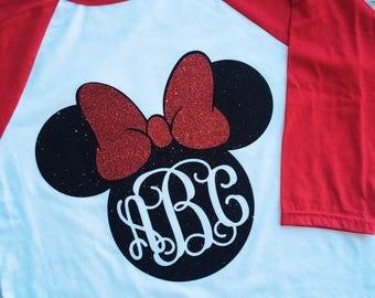 Minnie Mouse Shirt, Disney, Raglan, Glitter, Minnie Mouse, Vacation