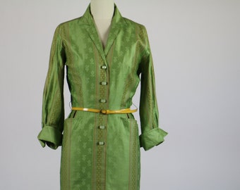Vintage 1950s Dress / Green Dress 50s Dress / Silk Dress Shirt Dress Stripe Dress Wiggle Dress Mad Men 1960s Dress Pinup Dress