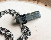 green tourmaline necklace, raw green tourmaline choker necklace, mineral jewelry