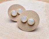 20% Off Christmas Sale Gold Round Moonstone Stud Bezel Earrings/ Gold Stud Post Earrings Natural Moonstone / Natural Gemstone Mineral Gem Ge