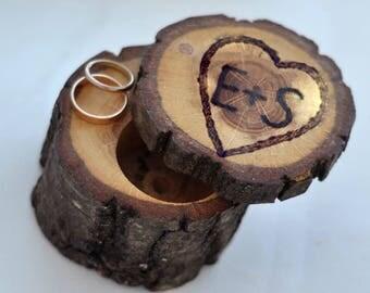 personalized wedding box  • barned ring box • ring bearer pillow • red oak wood box