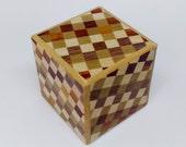 Japanese Puzzle box (Himitsu bako)- 2.0inch (53mm) Cube 4steps Ichimatsu