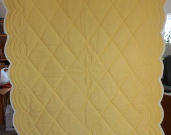 Baby Girl or Boy:  Yellow Tricot and Flannel Hand Quilted Baby Quilt with crocheted edging