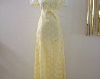 Vintage 60s Pastel Yellow Maxi Prom Dress - Pale Yellow 1960s MOD Party Dress - Boho Hippie Dress with Metal Zipper - Size Small to Medium