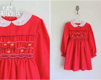 vintage 1970s girl's dress - POLLY FLINDERS red smocked dress / 6yr