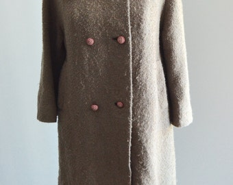 1950 Broad Tail Fur Tan Double breasted Long Coat Jacket, Caramel Mink Collar Made in France, ASTRAKIN styled by Lepshire