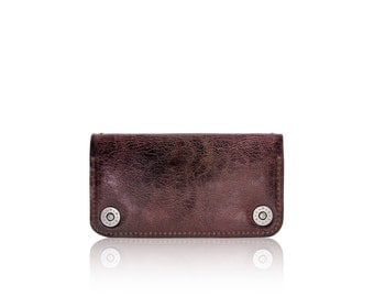 iPhone 6+, iPhone 7+ RETROMODERN aged leather wallet - - BURGUNDY