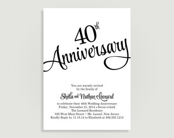 40th Wedding Anniversary Invitation - Personalized Printable File or Print Package Available -  #00060-40-PIA7(S)