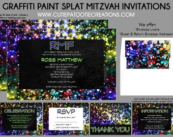 Graffiti Bar Mitzvah Invitation - RSVP Card - Thank You Notes - Save the Date - Envelope Addressing - Use for ANY Event - Custom Invitations