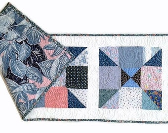 """Handmade Quilted Table Runner / Quilted Table Topper / Quilted Table Linen for Sale – Blue, Pink, Purple, White – 14"""" wide x 37-1/2"""" long"""