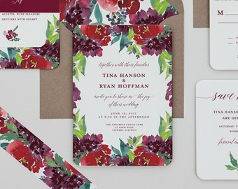 Modern Boho Berry Floral Wedding Invitations, Burgundy Floral Wedding Invite,Modern Red Rose Wedding Invitation,Rustic Winter Wedding Invite
