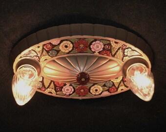 Vintage Flushmount  2 Bulb Ceiling Fixture Art Deco Floral Design Restored