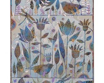 Enchanted Garden, Painting on Canvas, 16x20 Original Art , Floral Fantasy,home decor