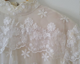 White silk and ruffle lace high neck blouse size small