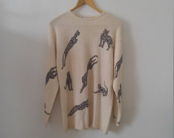 80s jaguar sweater dress sz medium