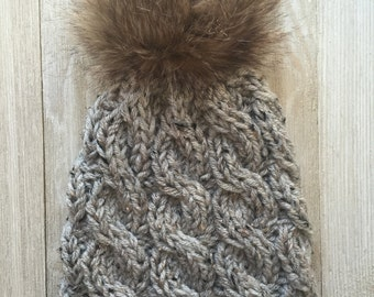 Chunky Knitted Cable Hat With Faux Fur Pom Pom - Chunky Knitted Hat - Hand Faux Pom Pom - Knitted Cable Hat - Women's Knitted Hats