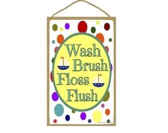 "Wash, Brush, Floss, Flush Sailboats & Polka Dots Bathroom Sign 7""X10.5"""