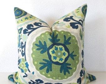 Teal Suzani pillow cover