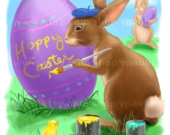 Instant Download Painting Easter Bunny Original Illustration Hoppy Easter Card
