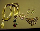 Vintage Lot Enamel Rhinestone Pendant Necklace Butterfly Orchid Pins Earrings 8913
