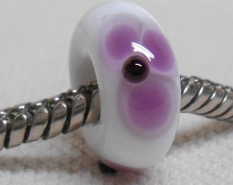 Handmade Lampwork European Style Charm Bead White with Purple Flowers