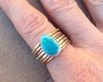 Turquoise teardrop mixed metal stacking ring