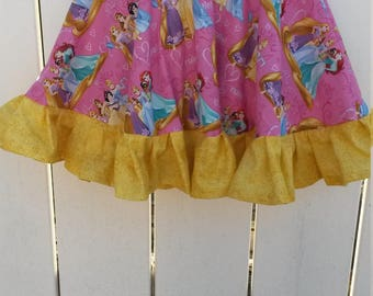 CLEARANCE - Size 4 Pink and Gold Disney Princesses Girls Ruffled Twirl Skirt READY to SHIP