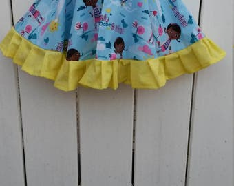 CLEARANCE - Size 3 Yellow and Blue Doc McStuffins Girls Ruffled Twirl Skirt READY to SHIP