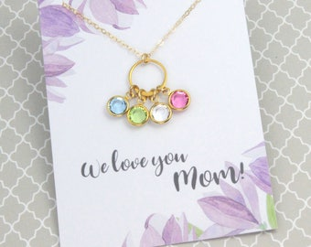 Mother's Day Sale Mother's Day Gift, Mother Necklace, Gold Eternity Link Necklace, Birthstone Jewelry, Silver or Gold, Birthday Gift,...