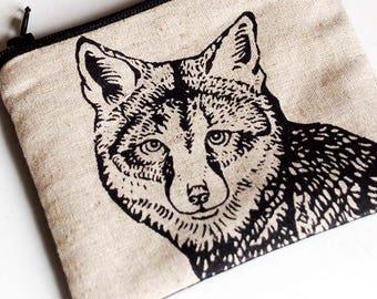 Coin Purse, Zipper Pouch, Small Change Purse, Little Fox Pouch