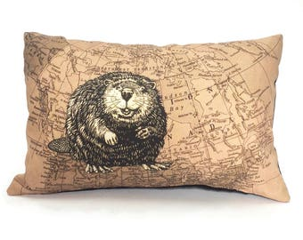 Canadian Beaver Pillow, Canada 150 Cottage Pilow