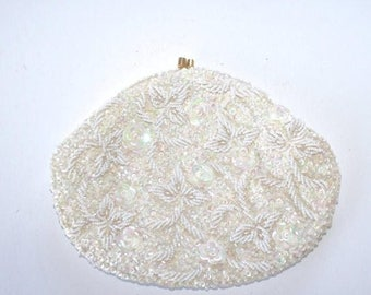 50% OFF SALE 1960s White Beaded Party Clutch Purse . Vintage 60s Gorgeous Ivory Bead & Sequin Formal Evening Bag . Handmade in Hong Kong