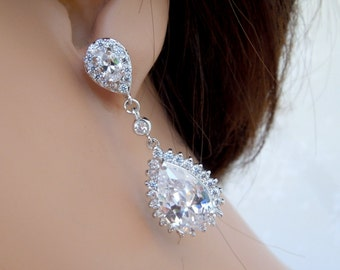 Crystal Bridal Earrings Rhinestone Earrings Cubic Zirconia Earrings Statement Bridal Wedding Earrings Rhinestone Teardrop Earrings TONI
