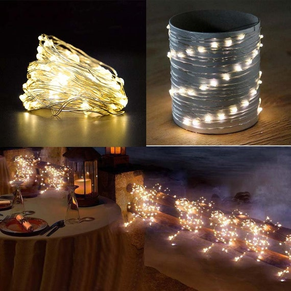 Items similar to 2 Meters warm white LED Fairy String Light with Battery powered case ...