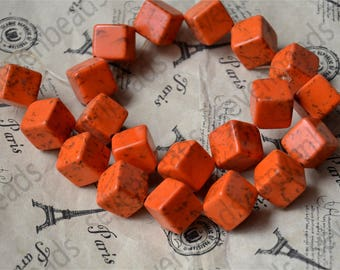Dyed Orange 20mm Charm nugget turquoise stone beads,Turquoise Nugget Free Turquoise Gemstone Beads loose strands