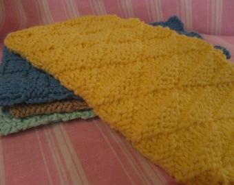 100% Cotton Washcloth Textured Handknit Yellow