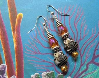 Orange and Silver Seashell Earrings (3465)