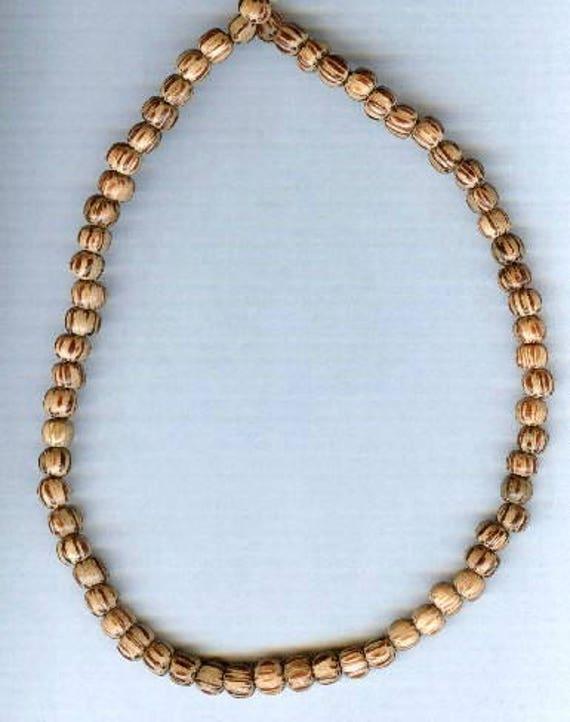 Stunning High Quality Light Palmwood Wood Beaded Bracelet or Necklace