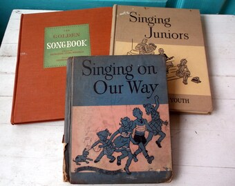 Children's Singing Song Books Music vintage 1940s 1950s lot of 3 Singing on Our Way Singing Juniors and The Golden Songbook