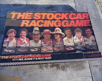 The Stock Car Racing Game, vintage 1981 board game, by Ribbit Toy Company  Neil Bonnet, Richard Petty, Bobby Allison, Kyle Petty, Ricky Rudd