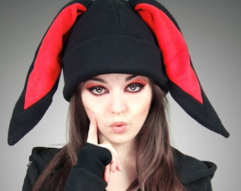 Black red Cap BUNNY Rabbit Hat cosplay kawaii nerd Animal Ears Beanie hat