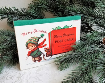 Vintage Merry Christmas Post Cards Book 39 Unused Postcards Assorted Designs, Retro Mid Century Paper Ephemera Supplies RARE