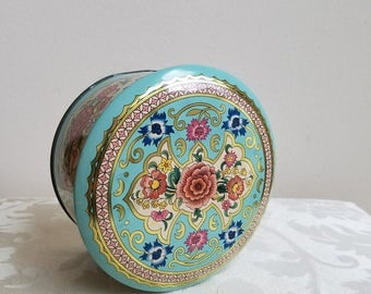 Vintage Tin Metal Box By Daher in Robin's Egg Blue With Flowers, Round Metalware Floral Storage Container Made in England