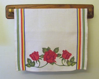 Vintage Red Rose Print Linen Kitchen Dish Hand Towel