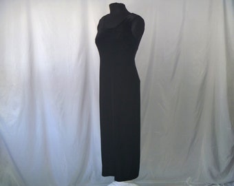 Vintage Black Velvet Formal Maxi Dress by R&M Richards Petite Size 8